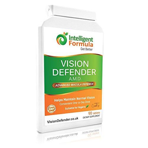 AREDS2 VISION DEFENDER AMD - Conveniente Vegano Formula AREDS 2 Uno Al Giorno (3 mesi di fornitura - 90 compresse), Qualità Luteina, Multivitamine & Minerali Nutrizionali Salute Integratore per gli Occhi - Intelligent Formula