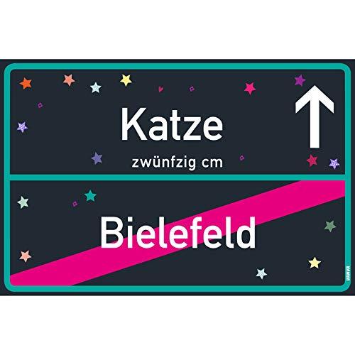 vanva Katze Schild Katze Bielefeld Schild Black Blue Katze-Ortsschild Ortstafel Wanddeko Party süße Geburtstag Geschenk Frauen Geschenkidee Männer 30x20 cm Schild mit Sprüchen Katze Sachen