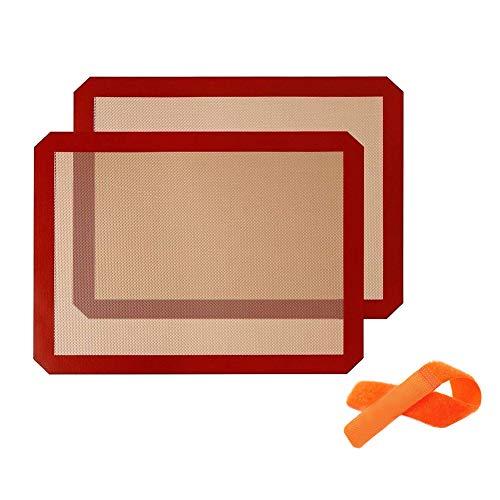 Tapis de Cuission en Silicone 2 Pièces Sans BPA 40*30cm Anti-Adhérent Toile Feuille de Cuisson Patisserie Garantie à Vie Twolights