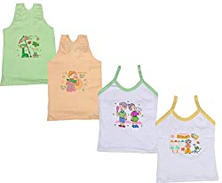 IndiWeaves Girls Pure Cotton Cartoon Print Slips/Vests (Pack of 4)_Multiple_10-12 Years