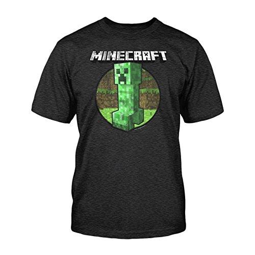 Minecraft - camiseta de creeper al estilo retro - videojuego de mundo abierto - algodón - gris - M