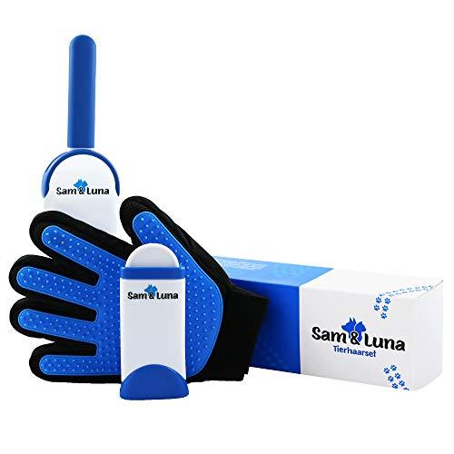 Sam & Luna Tierhaarset – Doppelseitiger Fellpflege-Handschuh, selbstreinigende Tierhaar-Bürste Haarentferner – ideal für Hunde, Katzen und sonstige Haustiere mit kurzem oder langem Fell