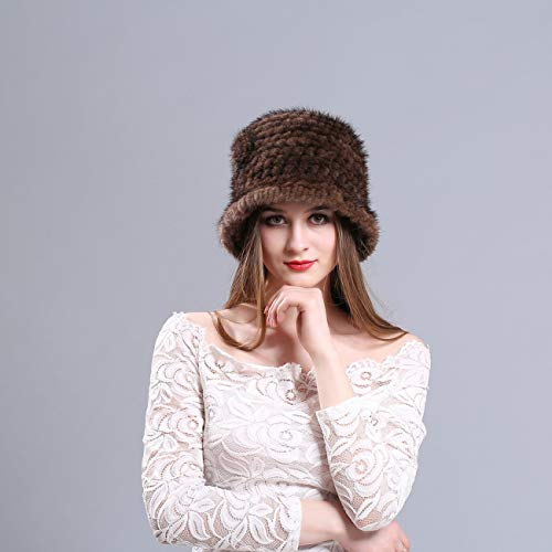 Cappello di Pelliccia di Visone Donne Inverno soffice Berretto a Maglia  Scialle Caldo Cappelli Ananas Berretto 3a45c4b4726d