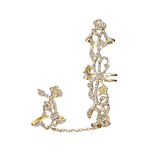 Babeyond Damen Strass Vintage Ringe Blumen Kristall Kette Verbundene Doppelter Ringe Gatsby Damen Accessoires Freie Größe (Gold) (Blume Ring Gold)