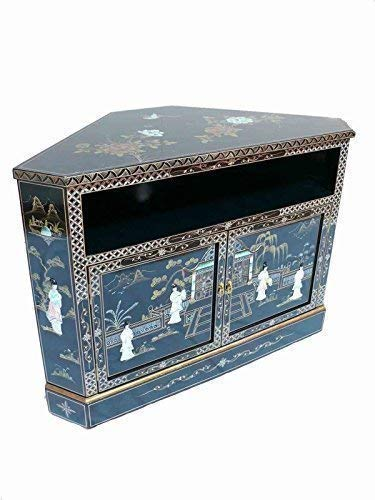 Schwarz Lack mit Mutter Perlmutt Eck TV Schrank Orientalische Möbel Chinesisch