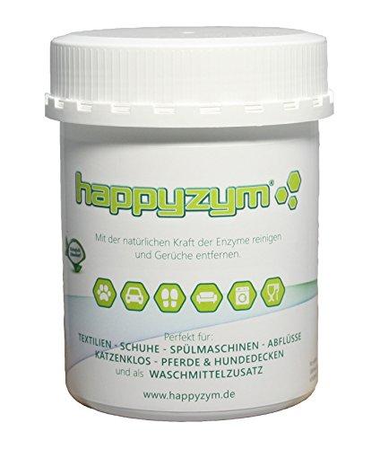 Happyzym Enzymreiniger und Geruch-Entferner ohne Duft - reinigt und beseitigt Gerüche (Katzenurin, Hunderurin und alle anderen Tiergerüche) durch Enzyme und Mikroorganismen 250g Dose -