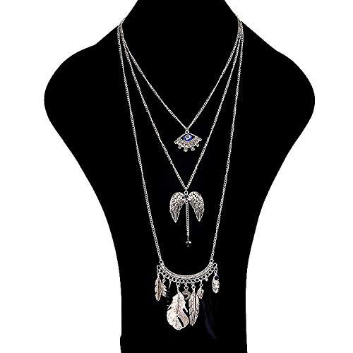 Cool-House-UK Jewelry Style New Art-handgemachte Reis Perlen Quaste Anhänger Halskette Augen-Flügel Diamondd Feder-Troddel-Halskette