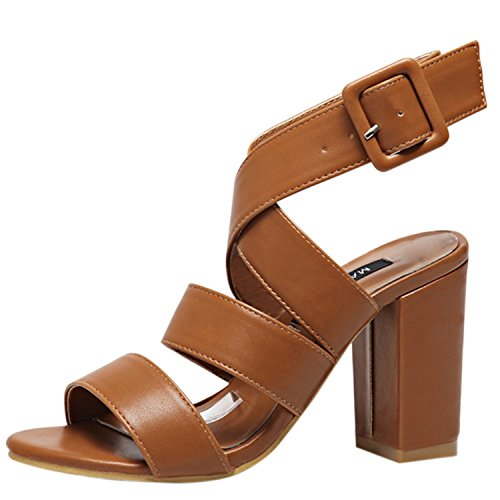 Oasap Women's Peep Toe Cross Buckle Block Heels Sandals Deep Brown