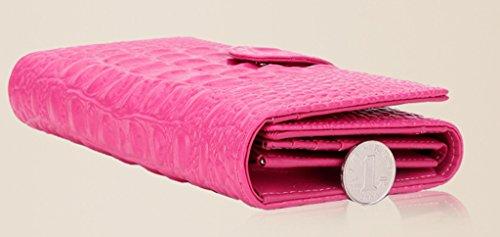 Longzibog Dual verstellbare Schultergurte und Hängeschlaufenband Mode geldbörse damen lang Pink