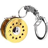 Generic Mini Fly Fishing Reel Charactor Miniature Key Ring Gold Key Chain Keyring