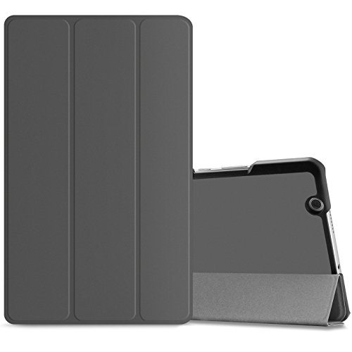 Huawei MediaPad M3 8.4 Hülle, Infiland Ultra Dünn Tri-Fold Smart-Muschel PU Leder Ultra Schlank Superleicht Ständer Smart Shell Cover Schutzhülle Etui Tasche für Huawei MediaPad M3 8.4 Tablet-PC (mit Auto Schlaf / Wach Funktion) (Weltraum Grau)