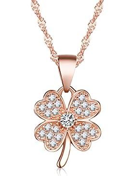 Unendlich U Glücklich Vierblättriges Kleeblatt Damen Halskette 925 Sterling Silber Zirkonia Anhänger Kette mit...