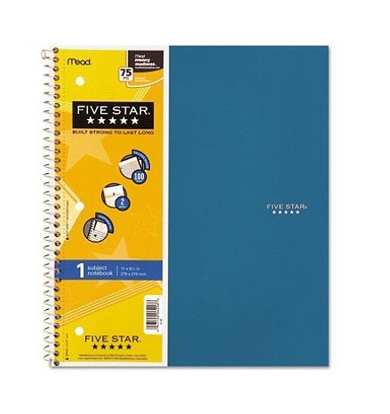 5-x-five-star-spiral-notebook-5-subject-college-ruled-200-sheets-11-x-85-inch-1-notebook-assorted-co
