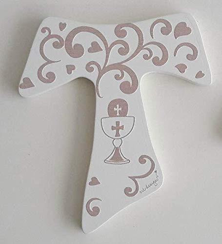 Cvc srl - bomboniera per comunione in legno bianco tagliato laser a forma di croce 7 x 8 cm con decorazione calice di vino e ostia colorata