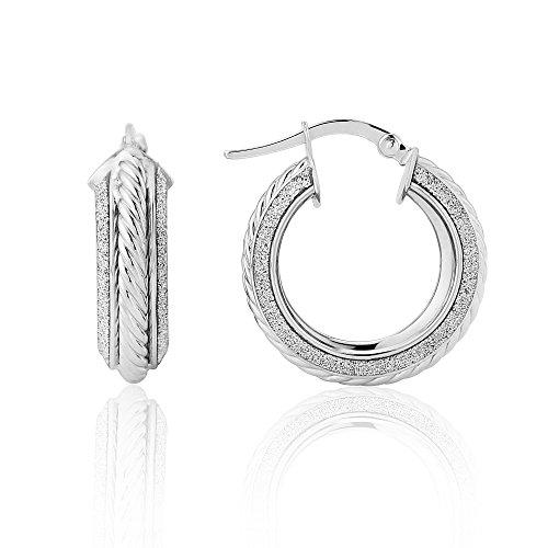 9ct White Gold Glitter Grecian Earring (Grecian Ohrringe)