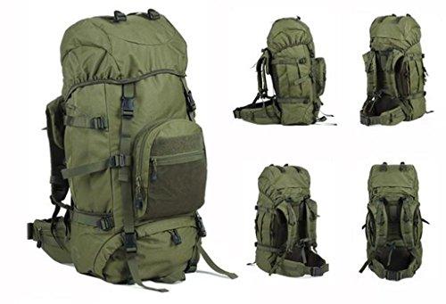 60 + 10L Bergtasche Männer und Frauen mit großer Kapazität Tasche Armeegrün
