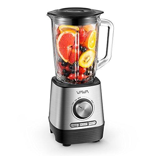 Standmixer VAVA Smoothiemaker 1000W, Glasbehälter BPA-frei, Mixer mit 6-Blatt Edelstahlmesser (7mm dick) für Smoothies, Suppen und Nüsse, Spülmaschinenfest, 5 Geschwindigkeiten, 3 Programme, 21000 rpm