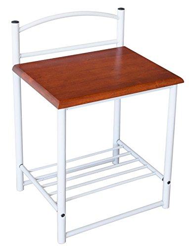 Table de chevet en bois et métal, coloris blanc et brun - Dim : H 64 x L 40 x P 33cm - PEGANE -