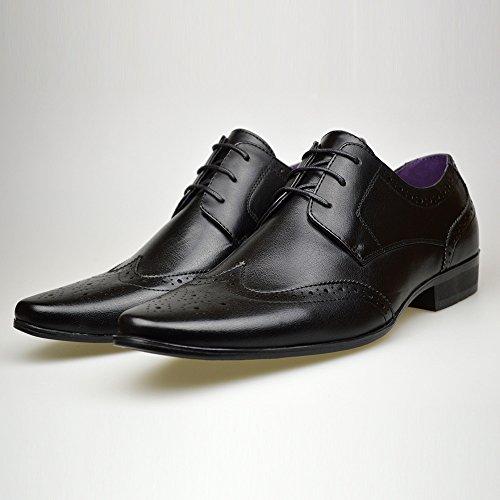 Neue Casual -, Herren, schwarz, Leder, offizielle Lace Up Schuhe, Größe 6, 7, 8, 9, 10, 11 Schwarz