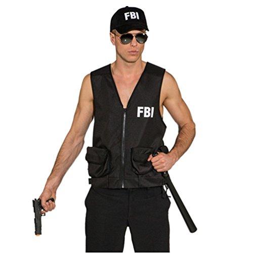 ORLOB KARNEVAL GmbH Chaleco del FBI para los Hombres Traje Negro Agente de policía Disfraz de Servicio de Inteligencia Karenval