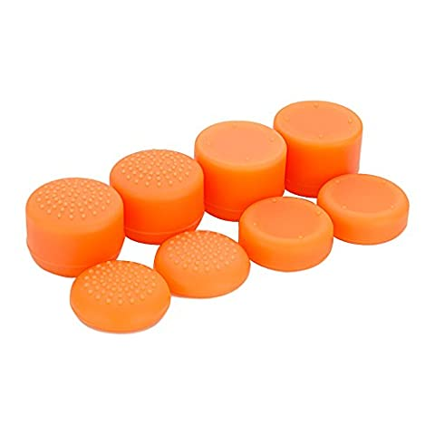 eXtremeRate® Orange Sweat Free Anti-slip Pack of 8 Silicone Rubber Precision Platform Raised Analog Sticks Thumb Grips for PlayStation 4 PS4 Slim Pro Controller