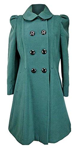 Damen Zweireiher langen Mantel Wolle Touch Passform und Flare Damen Winter Mantel mit Innenfutter Gr. 16, Grün - Sage Green