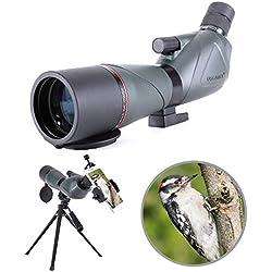20-60X80 Longue-Vue Télescope monoculaire Birdwatching Imperméable avec Adaptateur de téléphone + Trépied pour Le tir à l'arc, Safari Sightseeing, Observation des étoiles, Camping