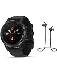 Garmin GPS-Multisport-Smartwatch Fenix 5 Plus Saphir – GPS, Mobile Payment via NFC - inkl. Bluetooth Headset