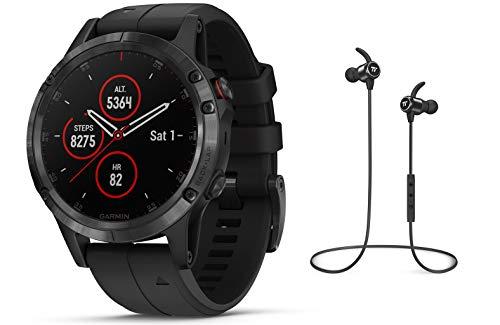 Garmin GPS-Multisport-Smartwatch Fenix 5 Plus Saphir - GPS, Mobile Payment via NFC - inkl. Bluetooth Headset