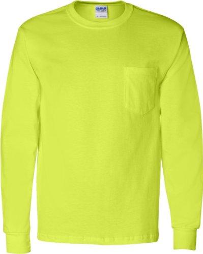 GILDAN Herren Asymmetrischer Langarmshirt Grün - Grün (Safety Green)