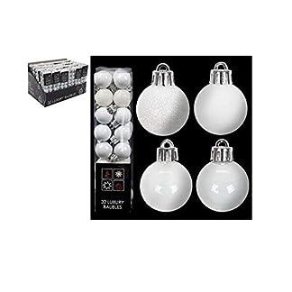 Paquete de 32 – 3.5cm White Christmas Tree Baubles – Brillante Matte & Glitter Design – Decoraciones de Navidad