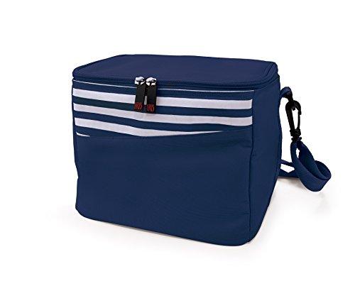 IRIS Mini Cooler Nevera, Tela y Poliéster, Azul y Blanco, 24x19x21 cm