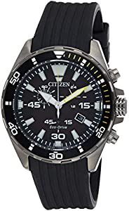 Citizen Mens Solar Powered Watch, Analog Display and Rubber Strap AT2437-13E