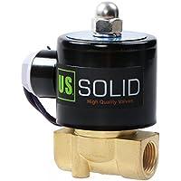 """U.S. Solid 12V DC 3/8"""" G Válvula de solenoide eléctrica Latón Normalmente Cerrado Solenoid Valve Impulsado Directamente para Agua Aire Aceite Diesel 0 - 10 Bar Viton Material del sello"""