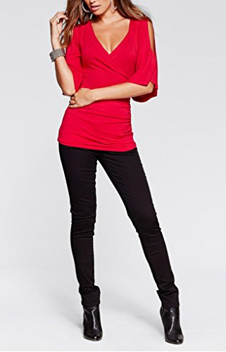 Smile YKK 1/2 Volants Aermel Damen Sommer Slim Fit Sweater Pullover Oberteil Shirt T-shirts Top Sweatershirt Rot