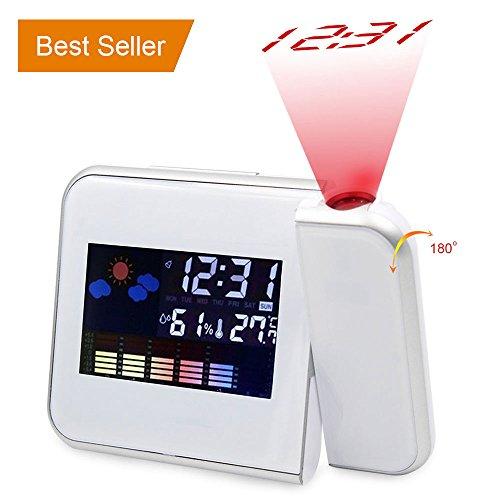 Rotierende Projektion Digitaler Wecker mit LED-Hintergrundbeleuchtung & Snooze Display Temperatur / Tag / Datum / Hygrometer / Feuchtigkeit 12 Stunden & 24 Stunden (White)