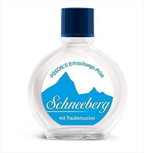 Schneeberg Weiß Glasfläschchen, Pfefferminz, 10 g, Traubenzucker, Nikotinfreier Schnupftabak, Schmei, Pöschl Qualitätsprodukt (Bar, Weißes Pulver)