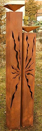 Garten Deko Rost Säulen 125cm und 100cm mit Muster und Vogeltränke