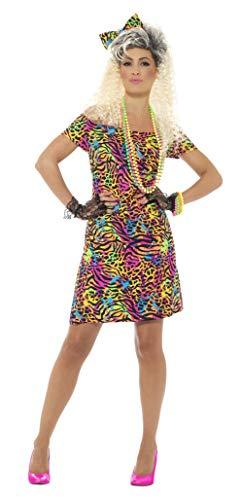 Smiffys Damen 80er Jahre Party Tier Kostüm, Kleid und Haarschleife, Größe: 44-46, 45952
