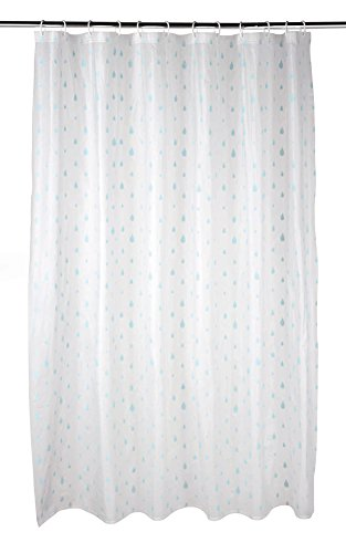 Beldray La041692raq Gouttes d'eau Rideau de Douche avec Crochets, 180 x 180 cm, Peva, Blanc/Turquoise, Blanc
