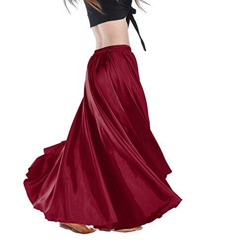 Yanni Satin-Rock für Bauchtanz, lange Tanzkleidung für Damen und professionelle Tänzer, weinrot