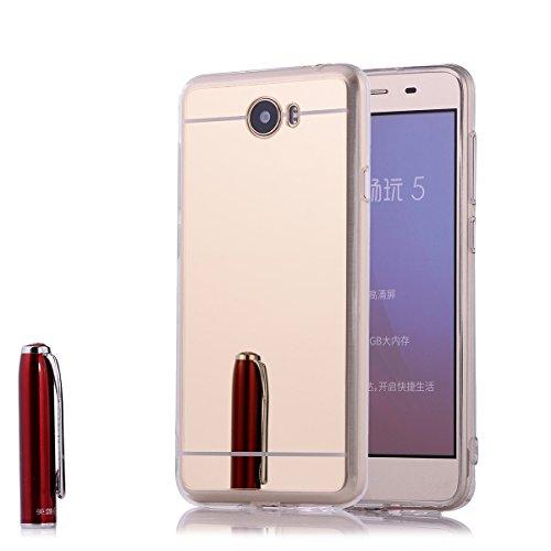 Huawei Y5 II / Y6 II Compact Spiegel Hülle,2ndSpring Mirror Case TPU Spiegel Hülle Huawei Y5 II / Y6 II Compact Schutzhülle Silikon Case Handyhülle Tasche für Huawei Y5 II / Y6 II Compact,Gold