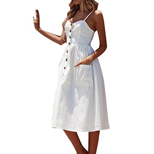Decha Damen Kleider V Ausschnitt Schulterfreies Ärmellos Lange Bedruckt Sommerkleider Strandkleider mit Knöpfen Vorne - Kleider V-ausschnitt Abschlussball Weiß