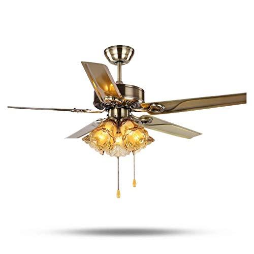 Yankuoo 42 Zoll / 48 Zoll / 52 Zoll Retro-Industrie-Deckenventilator lautlos Licht, Kühler Beleuchtung Deckenventilator Lampe, 5 Lampe Deckenventilator Fernbedienung Beleuchtung Energieeinsparung -