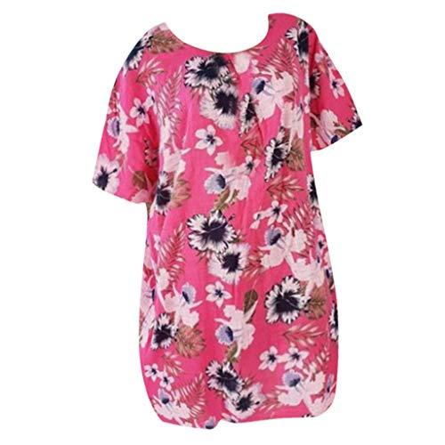 TTWOMEN Plus Size Weste Frauen T-Shirt Rundhals Kurzarm Tops Drucken Lose Bluse Sommerkleid (Rot, Large)