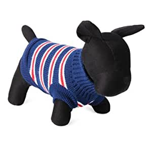 Fashion Striped Pet Dog Knitted Breathable Sweater Outwear Apparel - Blue - Xl