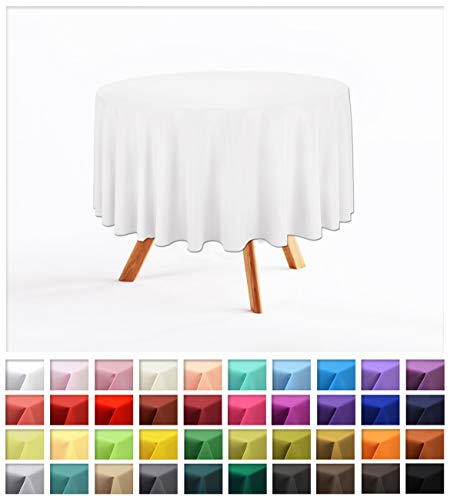 Rollmayer Uni Rund TISCHDECKE TISCHTUCH Oval TISCHWÄSCHE PFLEGELEICHT TISCHLÄUFER 40 Farben! (Weiß 1, Rund Ø 120cm) (120 Weiße Runde Tischdecke)