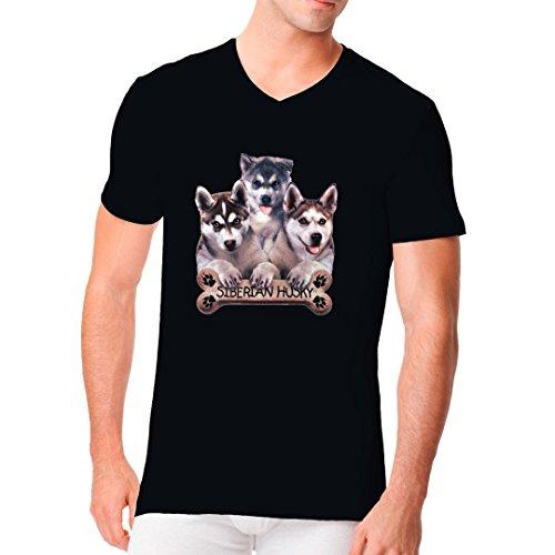 Im-Shirt - Sibirische Husky Welpen cooles Fun Men V-Neck - verschiedene Farben Schwarz