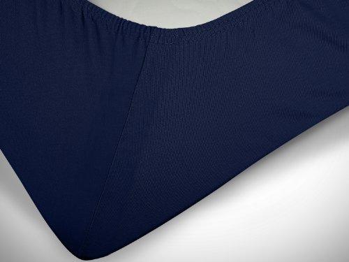 npluseins klassisches Jersey Spannbetttuch - erhältlich in 34 modernen Farben und 6 verschiedenen Größen - 100% Baumwolle, 70 x 140 cm, navyblau - 6