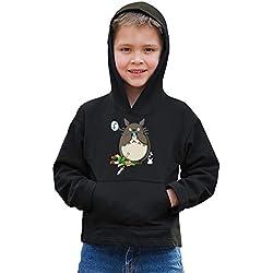 OKIWOKI Sweat à Capuche Enfant Noir Zelda - Totoro parodique Link et Totoro : C'est Mon Ocarina ! (Parodie Zelda - Totoro)